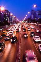 Beijing traffic on the second ring road near DongSiShitiao bridge.