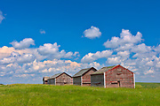 Graneries and clouds<br />Oyen<br />Alberta<br />Canada