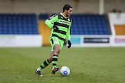 Forest Green Rovers Fabien Robert(26) on the ball during the FA Trophy 2nd round match between Chester FC and Forest Green Rovers at the Deva Stadium, Chester, United Kingdom on 14 January 2017. Photo by Shane Healey.