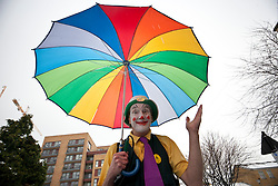 © licensed to London News Pictures. London, UK 05/02/12. A clown posing before the annual clown service in memory of Grimaldi at the Holy Trinity Church in Dalston, London. Photo credit: Tolga Akmen/LNP