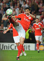 20120327: LISBON, PORTUGAL - Champions League 2011/2012 - Quarter-finals, First leg: SL Benfica vs Chelsea.<br /> In picture: Benfica's Oscar Cardozo, from Paraguay, kicks the ball.<br /> PHOTO: Alvaro Isidoro/CITYFILES