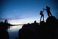 Lauren Bobowski and Martin Cavada enjoy a sunset on Lake Tahoe
