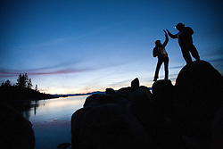 Lauren Bobowski and Martin Cavada enjoy a sunset on Lake Tahoe
