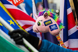 Anti-Brexit campaigners use a unicorn as a symbol, convinced that politicians trying to persuade Britons to leave the EU made impossible promises and are fantasising about a bright future outside of the EU . London, January 14 2019.