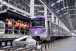 April 25, 2018 - Kolkata, West Bengal, India - The first rake consisting six coaches East West Metro Corridor show at KMRCL or Kolkata Metro Rail Corporation Ltd. depot at Salt Lake.  East West Metro Corridor connects Salt Lake to Howrah. (Credit Image: © Saikat Paul/Pacific Press via ZUMA Wire)