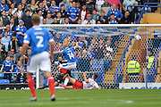 Portsmouth Forward, Curtis Main (14) scores to make it 1-0 during the EFL Sky Bet League 2 match between Portsmouth and Crawley Town at Fratton Park, Portsmouth, England on 3 September 2016. Photo by Adam Rivers.