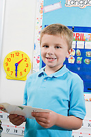 Elementary Student with Flash Cards