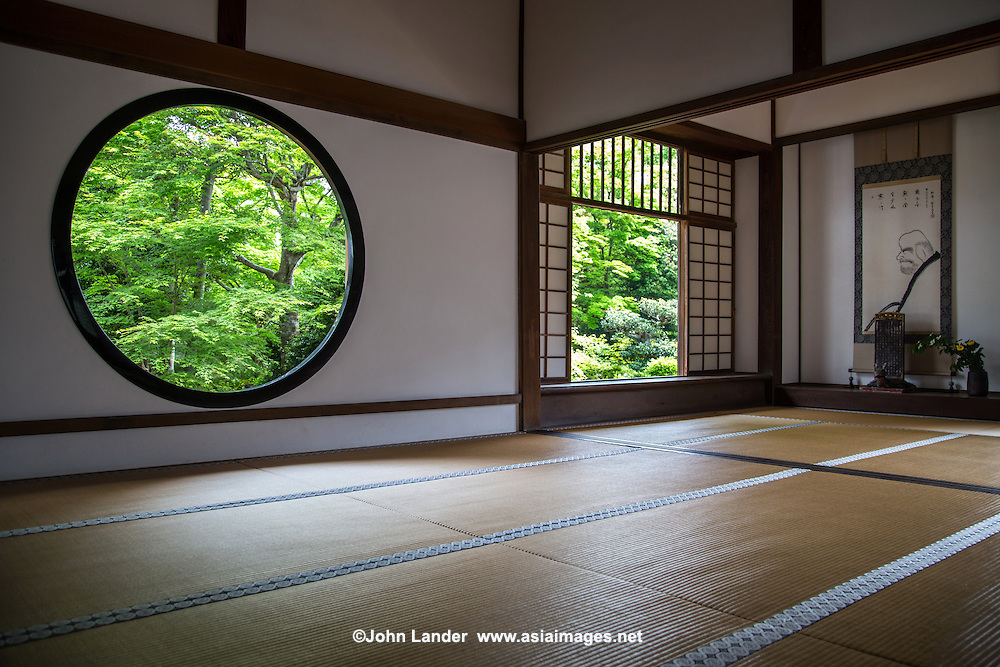"Genko-an is famous for its two large windows.  ""The Window of Enlightenment"" is round, showing the harmony of the universe.  The squared window is called ""The Window of Confusion"" symbolising humans' lives of suffering.  Both windows overlook the same garden, though the effect of looking through each window is quite different.  The garden's plants and stones are arranged to create an elegant world of wabi and sabi.  Genko-an Temple was originally built as a hermitage for the head priest of Daitoku-ji Temple, but was turned into a Zen temple."