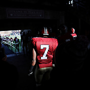 Norman Hayes, Harvard, waits at the back of the line as players are introduced onto the field before the Harvard Vs Yale, College Football, Ivy League deciding game, Harvard Stadium, Boston, Massachusetts, USA. 22nd November 2014. Photo Tim Clayton