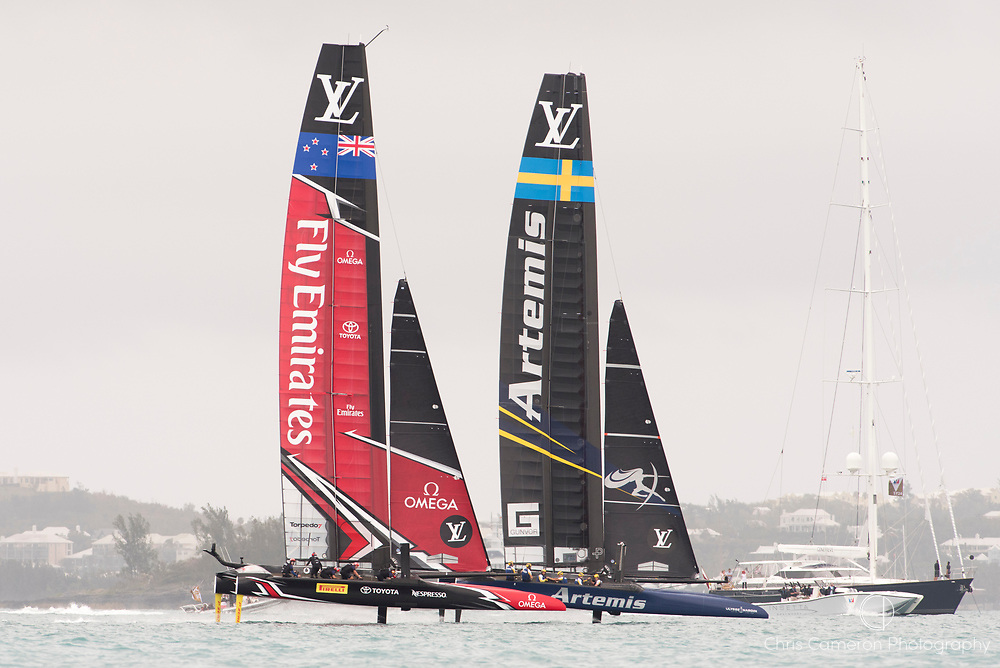 The Great Sound, Bermuda. 10th June 2017. Emirates Team New Zealand over haul Artemis Racing (SWE) in the first race of the Louis Vuitton America's Cup Challenger playoff finals. ETNZ win race 1.