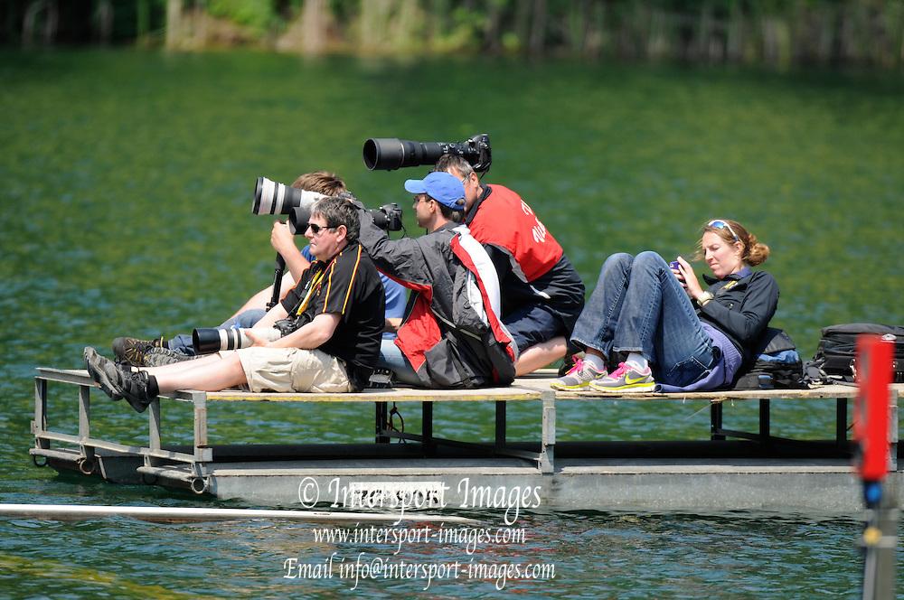 Lucerne, SWITZERLAND. Photographers pontoon. 2012 FISA World Cup II, Lucerne Regatta.  Rotsee Rowing Course,  Friday  25/05/2012  [Mandatory Credit Peter Spurrier/ Intersport Images].