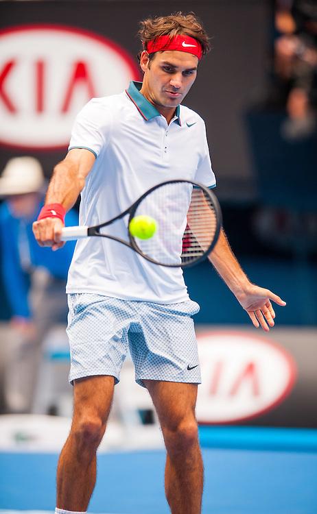 Roger Federer (SUI) faced T. Gabashvili (RUS) in Day 6 play at the Australian Open in Melbourne's HiSense Arena. Federer won over Gabashvili 6-2, 6-2, 6-3.