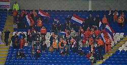 CARDIFF, WALES - Friday, November 13, 2015: The Netherlands supporters celebrate the second goal against Wales during the International Friendly match at the Cardiff City Stadium. (Pic by David Rawcliffe/Propaganda)
