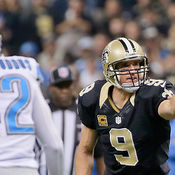 Dec 21, 2015; New Orleans, LA, USA; New Orleans Saints quarterback Drew Brees (9) against the Detroit Lions during the first quarter a game at the Mercedes-Benz Superdome. Mandatory Credit: Derick E. Hingle-USA TODAY Sports