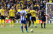 Fan comes onto the pitch during the Sky Bet Championship match between Watford and Sheffield Wednesday at Vicarage Road, Watford, England on 2 May 2015. Photo by Phil Duncan.