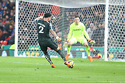 Kyle Walker shoots at goal during the Premier League match between Stoke City and Manchester City at the Bet365 Stadium, Stoke-on-Trent, England on 12 March 2018. Picture by Graham Holt.