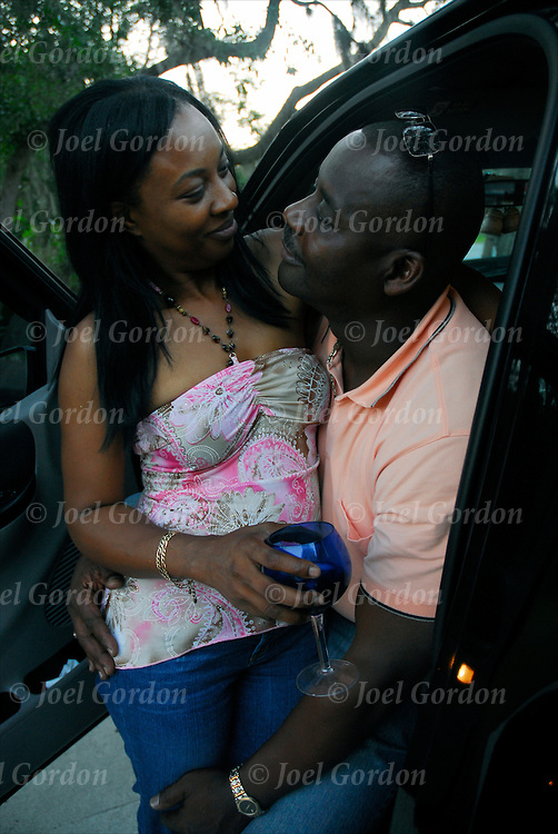 African American couple being affectionate and loving