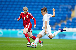 CARDIFF, WALES - Tuesday, August 21, 2014: England's Farah Williams in action against Wales during the FIFA Women's World Cup Canada 2015 Qualifying Group 6 match at the Cardiff City Stadium. (Pic by David Rawcliffe/Propaganda)