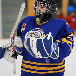 AURORA, ON - Feb 21 : Ontario Junior Hockey League Game Action between the Buffalo Jr. Sabres and the Aurora Tigers, Joseph Pianta #29 of the Buffalo Junior Sabres Hockey Club .<br /> (Photo by Brian Watts / OJHL Images)