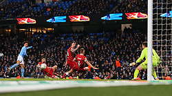Bristol City players block a shot from Leroy Sane of Manchester City - Mandatory by-line: Matt McNulty/JMP - 09/01/2018 - FOOTBALL - Etihad Stadium - Manchester, England - Manchester City v Bristol City - Carabao Cup Semi-Final First Leg