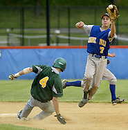 Chapel Field's Josh Schoch (7) leaps to catch the ball as John A. Coleman's Kyle Chambers (4) slides into second base during the Section 9 Class D championship game at SUNY New Paltz on Friday, May 28, 2010.