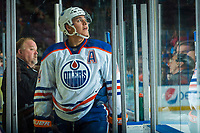 PENTICTON, CANADA - SEPTEMBER 9: Ethan Bear #74 of Edmonton Oilers watches the replay on the jumbotron as he enters the penalty box during third period against the Winnipeg Jets on September 9, 2017 at the South Okanagan Event Centre in Penticton, British Columbia, Canada.  (Photo by Marissa Baecker/Shoot the Breeze)  *** Local Caption ***