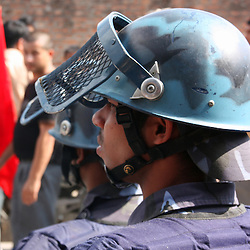 Nepali riot police confront Marxist rioters during civil unrest, Kathmandu,Nepal