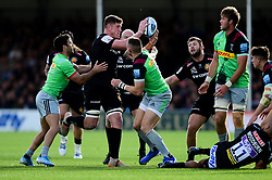 Jacques Vermeulen of Exeter Chiefs juggles the ball  - Mandatory by-line: Ryan Hiscott/JMP - 19/10/2019 - RUGBY - Sandy Park - Exeter, England - Exeter Chiefs v Harlequins - Gallagher Premiership Rugby