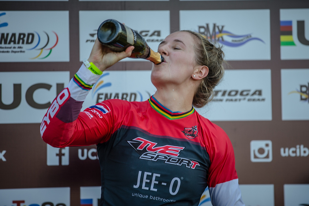 Women's Podium: 2nd, #116 (AFREMOVA Natalia) RUS; 1st #110 (SMULDERS Laura) NED; 3rd #6 (STANCIL Felicia) USA Round 9 of the 2019 UCI BMX Supercross World Cup in Santiago del Estero, Argentina