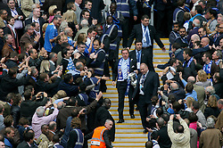LONDON, ENGLAND - Saturday, May 17, 2008: Portsmouth's manager Harry Redknapp carries the FA Cup trophy down the Wembley steps after beating Cardiff City 1-0 during the FA Cup Final at Wembley Stadium. (Photo by Chris Ratcliffe/Propaganda)