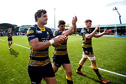 Francois Venter, Sam Lewis and Marco Mama of Worcester Warriors celebrate beating Gloucester Rugby and securing Premiership Rugby status - Mandatory by-line: Robbie Stephenson/JMP - 28/04/2019 - RUGBY - Sixways Stadium - Worcester, England - Worcester Warriors v Gloucester Rugby - Gallagher Premiership Rugby