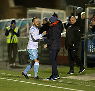Dundee manager Paul Hartley congraulates Forfar's Martyn Fotheringham as the testimonial recipient is substituted late on  - Forfar Athletic v Dundee, Martyn Fotheringham testimonial at Station Park, Forfar.Photo: David Young<br /> <br />  - &copy; David Young - www.davidyoungphoto.co.uk - email: davidyoungphoto@gmail.com