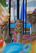 Meant to entice children to ride the carousel, these pastel-coloured horses at Coney Island's Astroland amusement park seem to inspire fear instead. Astroland closed in September 2008.
