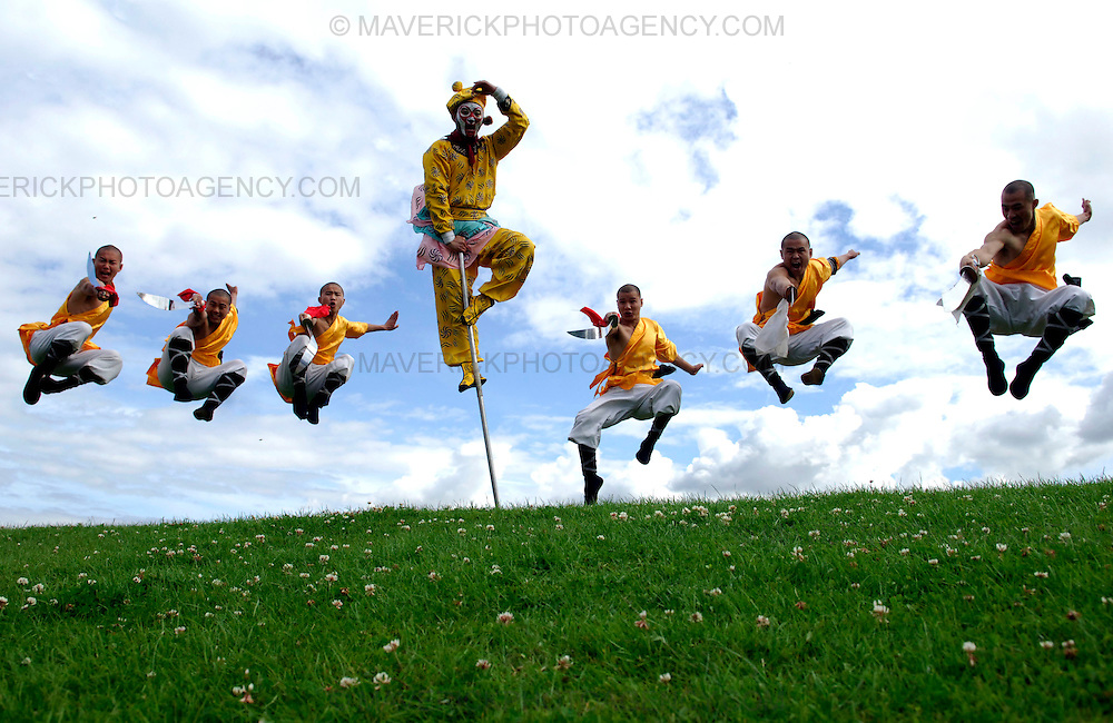 "EDINBURGH, UK - 4th August 2010: Chinese State Circus performers rehearse ahead of their opening night show ""Mulan"" on Friday 6th August at the Big Top at Ocean Terminal in Edinburgh...Picture shows the Shoalin Monks and the Monkey King (centre)..(Photograph: Richard Scott/MAVERICK)"