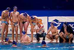 Ales Komelj, head coach of Triglav with players during water polo match between ASD Vaterpolo Rokava Koper and AVK Triglav Kranj in 3rd Round of Final of Slovenian Water polo National Championship, on June 8, 2011 in Zusterna pool, Koper, Slovenia. Rokava Koper defeated Triglav Kranj 12-6 and became Slovenian Champion 2011. (Photo By Vid Ponikvar / Sportida.com)