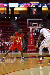 26 November 2016:  Andre Washington(15) holds Mory Diane beyond the three point arc during an NCAA  mens basketball game between the Ferris State Bulldogs the Illinois State Redbirds in a non-conference game at Redbird Arena, Normal IL