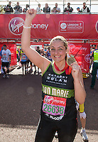 Actress Ann Marie Davies at the end of the Virgin Money London Marathon 2014 on Sunday 13 April 2014<br /> Photo: Roger Allan/Virgin Money London Marathon<br /> media@london-marathon.co.uk