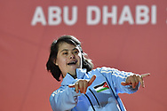 Abu Dhabi, United Arab Emirates - 2019 March 15: Yara Aladuan from Jordan took first place and gold medal in roller skating during Special Olympics World Games Abu Dhabi 2019 on March 15, 2019 in Abu Dhabi, United Arab Emirates. (Mandatory Credit: Photo by (c) Adam Nurkiewicz)