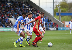 Jordan Houghton of Milton Keynes Dons is surrounded by players - Mandatory by-line: Arron Gent/JMP - 27/04/2019 - FOOTBALL - JobServe Community Stadium - Colchester, England - Colchester United v Milton Keynes Dons - Sky Bet League Two