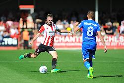 Carl Winchester of Cheltenham Town clears the ball - Mandatory by-line: Nizaam Jones/JMP - 02/09/2017 - FOOTBALL - LCI Rail Stadium - Cheltenham, England - Cheltenham Town v Stevenage- Sky Bet League Two