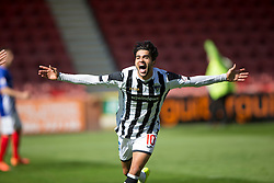Dunfermline&rsquo;s Faissal El Bahktaoui cele scoring their first goal. <br /> Half time : Dunfermline 4 v 0 Cowdenbeath, SPFL Ladbrokes League Division One game played 15/8/2015 at East End Park.