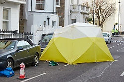 © Licensed to London News Pictures.  28/01/2013. LONDON, UK. General view of the scene in Lupus Street, Pimlico where a 16 year old was fatally stabbed last night (Sunday) at around 18:30. The Metropolitan Police have begun a murder inquiry. Photo credit :  Cliff Hide/LNP
