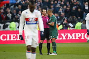 Ruddy Buquet referee and Kevin Monnet-Paquet of Saint Etienne during the French Championship Ligue 1 football match between Olympique Lyonnais and AS Saint-Etienne on february 25, 2018 at Groupama stadium in Décines-Charpieu near Lyon, France - Photo Romain Biard / Isports / ProSportsImages / DPPI