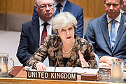 British Prime Minister Theresa May addressing the Security Council at the United Nations in New York City, NY on September 20, 2017.
