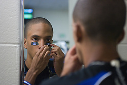 26 May 2007: Duke Blue Devils goalkeeper Devon Sherwood (1) puts on eye black in the locker room before the NCAA semifinals to take on the Cornell Big Red at M&T Bank Stadium in Baltimore, MD.