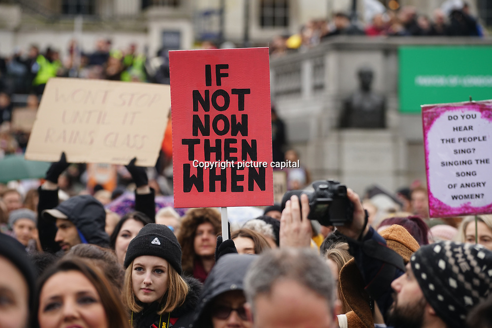 London, UK. 4th March 2018. Women's Day march 2018 marks 100 years since (some) women in the UK were legally allowed to vote. One hundred years on women still marching for equality demand 50/50 women in  Paliament calling for an end sexual harassment, violence and rape.
