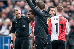 (L-R) Tyrell Malacia of Feyenoord, coach Giovanni van Bronckhorst, Sam Larsson of Feyenoord during the Dutch Eredivisie match between Feyenoord Rotterdam and FC Utrecht at the Kuip on April 15, 2018 in Rotterdam, The Netherlands