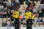 Johann Myburgh of Somerset raises his bat on reaching his  half century during the NatWest T20 Blast South Group match between Hampshire County Cricket Club and Somerset County Cricket Club at the Ageas Bowl, Southampton, United Kingdom on 18 August 2017. Photo by Dave Vokes.