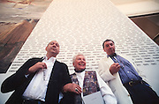 "VENICE, ITALY..June 1995..46th Biennale of Venice.Jean Clair, Biennale Director (r.), with Christoph Boltanski in front of his ""Names of all Artists ever in all Biennales"" at the entrance of the Italian Pavillion..(Photo by Heimo Aga)"