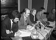 TD,s Press Conference at Wynns Hotel..1981..20.04.1981..04.20.1981..20th April 1981..After their visit to Hunger Striker, Bobby Sands, the TD's held a press conference at Wynns Hotel, Abbey Street, Dublin..Image shows Niall Blaney opening the press conference relating to the assembled audience their visit to H-Block Hunger Striker, Bobby Sands.